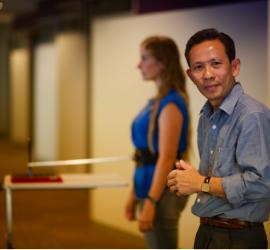 Dr Hoang preparing to test balance